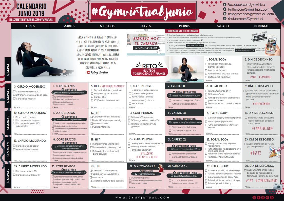 Calendario De Junio.Calendario Junio 2019 Gym Virtual