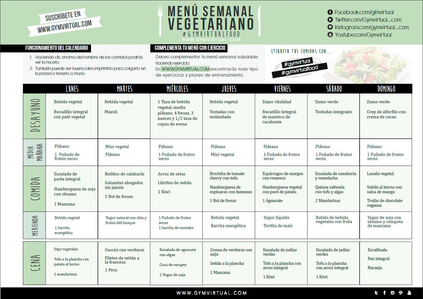 Men vegetariano gym virtual for Menu semanal verano